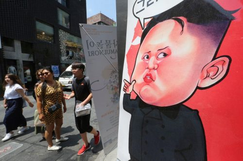 A caricature of Mr. Kim in Seoul